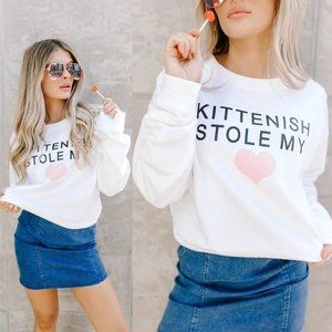NEW Kittenish Stole My Heart Sweatshirt White Pink